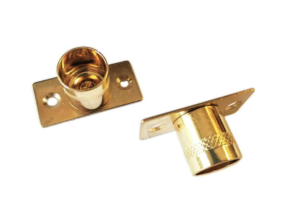2 Brass Curtain Rod Recess Brackets 16mm Pole Support